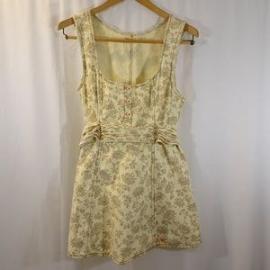 FREE PEOPLE Cream Tan Floral Print Jumper Size 4